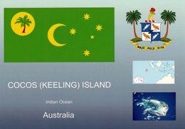 1 AK Cocos (Keeling) Island * Flagge, Wappen - Und Die Position Von Cocos Island Im Indischen Ozean * - Islas Cocos (Keeling)