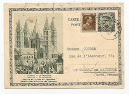 Belgique Tournai , Trvier Fabrique De Bonneterie Quevaucamps 1939 Pour Hautmont Lez Maubeuge 59 Nord  Entier Postal - Stamped Stationery