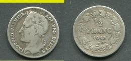 BELGIQUE - LEOPOLD Ier - DEMI FRANC 1843 - 1831-1865: Leopold I