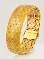 Többszínű Fehér és Sárga Arany 18K Arany Karkötő. Jelzett, Bőr Tokkal.  / 18 C Massive Gold Bracelet With Leather Case 6 - Jewels & Clocks