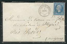 FRANCE 1863 N° 22  S/Lettre Obl. GC 2202 Marcillac D'Aveyron - 1862 Napoleon III