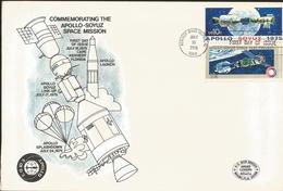 J) 1975 MEXICO, COMMEMORATING THE APOLLO-SOYUZ SPACE MISSION, SATELLITE, PAIR, FDC - Mexique