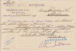 Berlin, MITTHEILUNG Delbrück Leo & Co -> Barbezieux, France 1906 - Allemagne