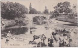 Cpa PONT SCORFF - L'Abreuvoir Et Le Pont (vaches) - Pont Scorff