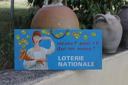 Plaque Publicitaire Loterie Nationale (illustrateur Pérot Le Bélier A Paris) - Plaques Publicitaires