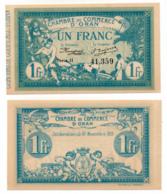 1914-1918 // C.D.C. // Algérie // ORAN // 10 Novembre 1915 // 1 Franc - Chambre De Commerce