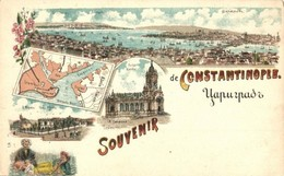 ** T2/T3 Constantinople, Istanbul; General View, Church, Map, Floral, Litho (EK) - Postcards