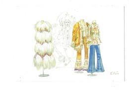 Cpm - Illustration ELISE - Manteau En Peau Mouton Pantalon Pattes D'éléphant Veste Satin EMANUEL UNGARO 1971 Mannequin - Moda