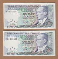 AC - TURKEY 7th EMISSION 10 000 TL K 30 & 30 WITH AND WITHOUT WATERMARK RARE UNCIRCULATED - Turkije