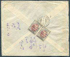 1926 Persia Iran Regne De Pahlavi Overprints Cover. Bouchir - Teheran, 9 Ch X 2 (11.5 Perf) Cazerooni & Sons, Bushir - Iran