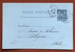 FRANCIA   CARTE POSTALE  10 C.  PARIS R. DES HALLES   TO  BOLOGNA  2/2/86 + LAPOSTOLET FRERES & CERTEUX - 1876-1898 Sage (Type II)