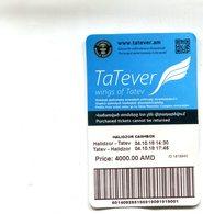TICKET DE TELEPHERIQUE TATEV(ARMENIE) 2,8KM - Billets D'embarquement D'avion