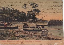 POSTAL DE PANAMA DE NATIVE CANOAS AND TURTLE CRAWL COLON DEL AÑO 1909 (L. MADURO) ROTURA - Panamá