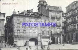 101277 SPAIN ESPAÑA ORENSE GALICIA SQUARE PLAZA MAYOR CIRCULATED TO ARGENTINA POSTAL POSTCARD - Sin Clasificación