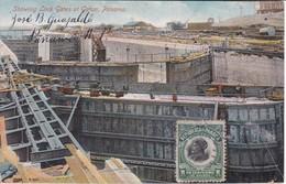 POSTAL DE PANAMA DE SHOWING LOCK GATES AT GATUN DEL AÑO 1914 (VIBERT & DIXON) - Panamá