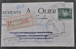 1944 CLERMONT-FERRAND TIMBRE PETAIN S/ LETTRE RECOMMANDÉE SOCIÉTÉ OLIER OBLITÉRATION CACHET - 1921-1960: Modern Period