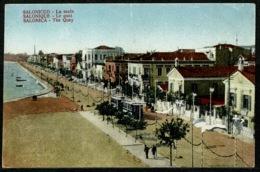 Ref 1228 - Early Greece Postcard - Tram & The Quay - Salonica Salonique Thessaloniki - Greece
