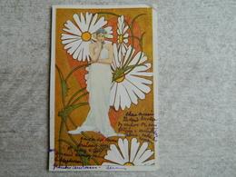 CARTE ART NOUVEAU FEMME MARGUERITE - 1900-1949