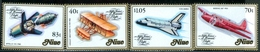 NIUE  #389-92  - AIRPLANES - SPACECRAFTS  - AVIATION MANNED FLIGHT-  4 V-  1983 - Niue