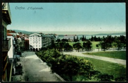 Ref 1228 - Early Greece Postcard - L'Esplanade Corfou Corfu - Ionian Islands - Greece