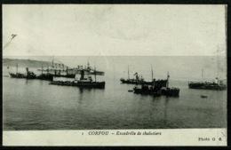 Ref 1228 - Early Greece Postcard - Warships - Corfou Corfu - Ionian Islands - Greece