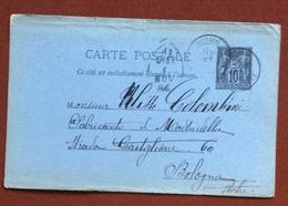 FRANCIA   CARTE POSTALE  10 C.  FROM  MONACO  TO  BOLOGNA  29/10/84 - 1876-1898 Sage (Type II)