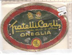 PO7751D# TARGA PUBBLICITA' - VECCHIA ETICHETTA OLIO D'OLIVA FRATELLI CARLI - ONEGLIA - IMPERIA - Targhe Di Cartone