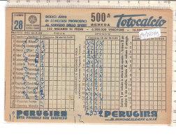 PO7754D# SCHEDINA TOTOCALCIO 1958 - GIOCO CALCIO - CONCORSO PRONOSTICI SPORT ITALIA - PUBBLICITA' PERUGINA - Calcio