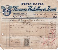PORTUGAL COMMERCIAL DOCUMENT - THOMAZ BATALHA & IRMÃ    - PORTO  - TIPOGRAFIA - FISCAL STAMP - Portugal