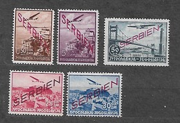 #533# GERMANY 1941 SERBIA OCCUPATION YVERT PA 1,4,5,8,10 MH*. SEE SCANS. - Occupation 1938-45