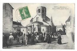 SEMUR En BRIONNAIS  (cpa 71)   Sortie De Messe Devant L'Eglise    ## RARE  ##  - L 1 - France