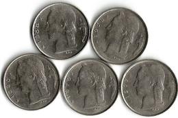 Lot 5 Pièces De Monnaie 1 Francs Belgique NLD - 1951-1993: Baudouin I