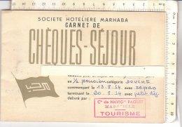 PO8083D# Carnet Societe Hoteliere Marhaba CHEQUES SEJOUR 1954/ ALBERGHI MAROCCO - Vecchi Documenti