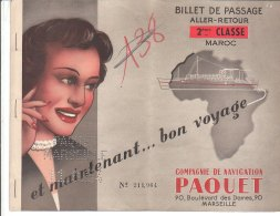 PO8085D# BIGLIETTO CROCIERA - COMPAGNIE DE NAVIGATION PAQUET 1954/NAVI - Boat