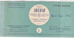 PO8087D# CARTA D´IMBARCO - BIGLIETTO AEREO TICKET IBERIA - LINEE AEREE ESPANOLAS 1955 - Plane