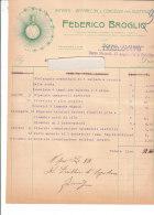 PO8109D# FATTURA CARTA INTESTATA FEDERICO BROGLIO - IMPIANTI APPARECCHI ELETTRICITA' TORINO 1913 - Italia