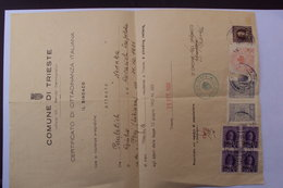 STORIA POSTALE FISCALI AMG FTT POSTAL REVENUE TRIESTE CERTIFICATO DI CITTADINANZA 1950 - Marcofilía