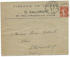 ENVELOPPE / SEMEUSE 10c / LILLE GARE / TISSAGE DE TOILES SALOMON 1910 - Storia Postale