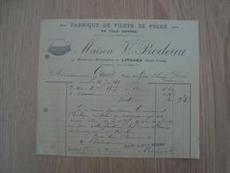 FACTURE MAISON V.BODEAU FABRIQUE DE FILETS DE PECHE LIMOGES 1912 - 1900 – 1949