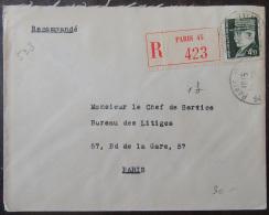 """Recommandé """"Paris 45"""" N°423 Sur Enveloppe Avec Timbre Pétain Hourriez YT N°523 Seul - 1921-1960: Période Moderne"""