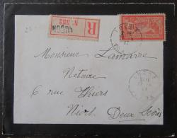 """Recommandé """"Luçon"""" N°552 Sur Enveloppe Avec Timbre 40c Type Merson YT N°119 - Cachet 1917 - 1877-1920: Période Semi Moderne"""