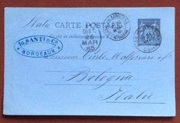 FRANCIA   CARTE POSTALE  10 C.  FROM  GARE DE LIBOURNE GIRONDE TO  BOLOGNA  26/3/85 + TIMBRE COMERCIAL - 1876-1898 Sage (Type II)