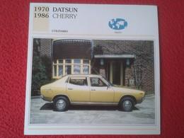 FICHA TÉCNICA DATA TECNICAL SHEET FICHE TECHNIQUE AUTO COCHE CAR VOITURE 1970 1986 DATSUN CHERRY JAPAN JAPÓN NIPPON VER - Coches