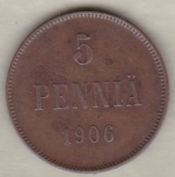 Finlande 5 Pennia 1906 Nicholas II KM# 15 - Finlande