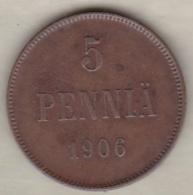 Finlande 5 Pennia 1906 Nicholas II KM# 15 - Finland