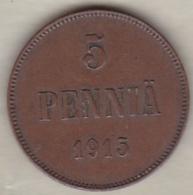 Finlande 5 Pennia 1915 Nicholas II KM# 15 - Finland