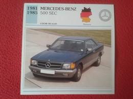 FICHA TÉCNICA DATA TECNICAL SHEET FICHE TECHNIQUE AUTO COCHE CAR VOITURE 1981 1985 MERCEDES BENZ 500 SEC GERMANY VER FOT - Coches
