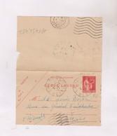 TIMBRE ENTIER SUR CARTE LETTRE No 283CL 1 En 1937! - Postal Stamped Stationery