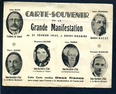 """Carte Souvenir """" Grande Manifestation Du 21 Février 1937 à St Nazaire """" Avec Léon Blum , Léon Jouhaux,François Blancho - Evènements"""