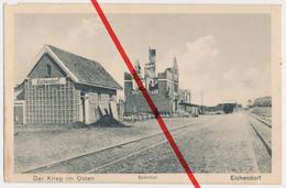 Bahnhof Eichendorf Bei Tilsit-Ragnit, Ostpreußen, Verlag August Schwarzkopff, Lötzen - Ostpreussen
